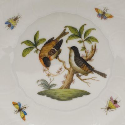 Designer Tabletop: Herend: White Herend Tureen with Bird