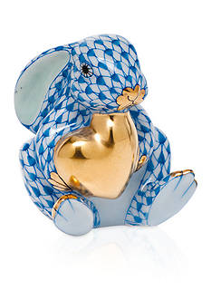 Herend Bunny with Heart - Blue