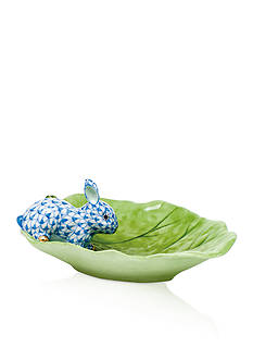 Herend Bunny on Cabbage Leaf - Raspberry