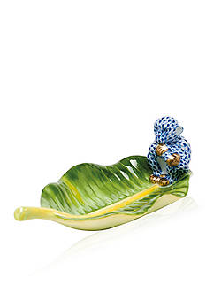 Herend Monkey on Banana Leaf - Sapphire Blue