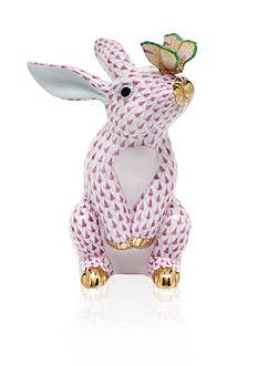 Herend Bunny with Butterfly - Raspberry