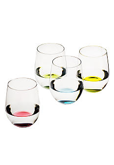 Happy O Stemless Wine Glass Tumbler 4 Piece Set - Online Only