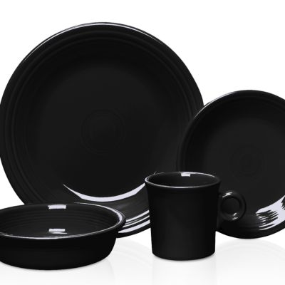 Apartment Living: Dining: Black Fiesta Cobalt 4-pc Place Setting