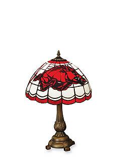Memory Company NCAA University of Arkansas Razorbacks Tiffany Stained Glass Table Lamp