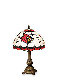 Memory Company NCAA University of Louisville Cardinals Tiffany Stained Glass Table Lamp