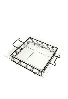 Home Accents 4 Section Square Platter with Stand