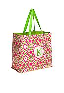 Home Accents® Monogram Pink Green Ikat Shopper Tote