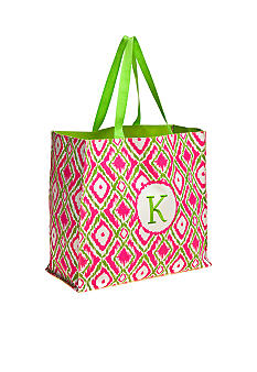 Home Accents Monogram Pink Green Ikat Shopper Tote