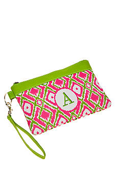 Home Accents Monogram Pink Green Ikat Wristlet