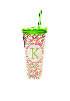Home Accents Monogram Pink Green Ikat 22-oz. Tumbler with Straw