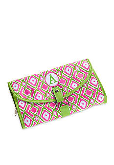 Home Accents Monogram Pink Green Ikat Cosmetic Bag