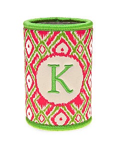 Home Accents Monogram Pink Green Ikat Koozie