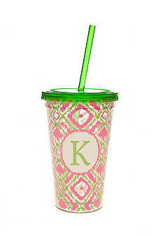 Home Accents Monogram Pink Green Ikat 16-oz. Tumbler with Straw