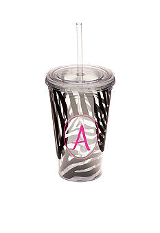 Home Accents Zebra Monogram Tumbler 16 oz - More Letters Available