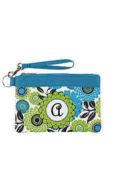 Home Accents Monogram Blue Floral Wristlet