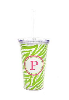 Home Accents® Monogram Green Zebra 16 oz Tumbler - More Letters Available