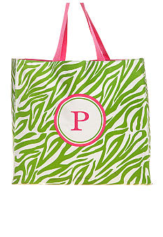 Home Accents® Monogram Green Zebra Shopper Tote - More Letters Available