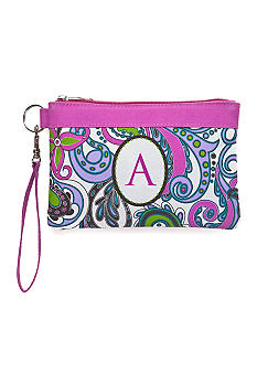 Home Accents Monogram Purple Paisley Wristlet