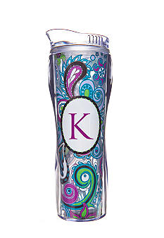 Home Accents® Home Accents Monogram Purple Paisley 16-oz. Tumbler with Straw