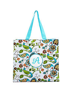Home Accents Monogram Bird Floral Shopper Tote