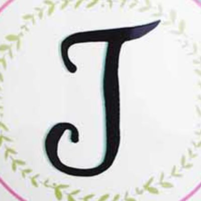 Tableware: Drinkware: Pink/Green Home Accents Monogram Boxed Latte Mug