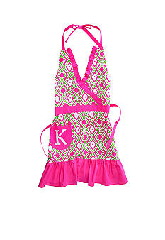 Home Accents Monogram Pink Green Ikat Apron
