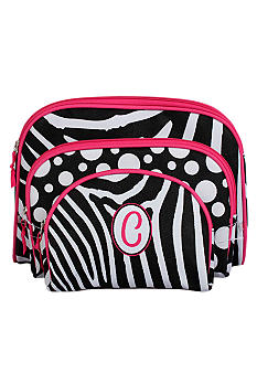 Home Accents Monogram Zebra 3-Piece Cosmetic Case Set