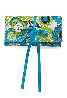 Home Accents Monogram Blue Floral Jewelry Travel Case