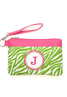Home Accents Monogram Green Zebra Wristlet - More Letters Available