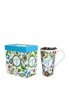 Home Accents Monogram Bird Floral Boxed Latte Mug