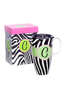 Home Accents Monogram Zebra Boxed Travel Mug