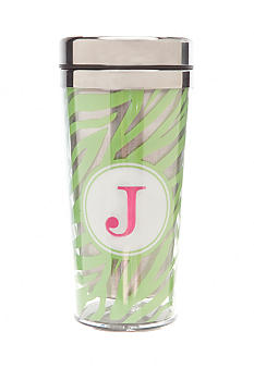 Home Accents Monogram Green Zebra Travel Mug - More Letters Available