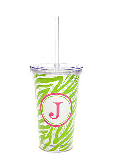 Home Accents Monogram Green Zebra 16 oz Tumbler - More Letters Available