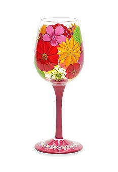 Home Accents Floral Splash Hand-Painted Wine Glass