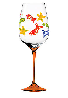 Home Accents Funky Fish Hand-Painted Wine Glass - Online Only
