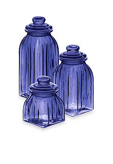 Home Accents Blue Glass Jars Set of 3 - Online Only