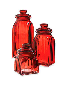 Home Accents Red Glass Jars - Set of 3