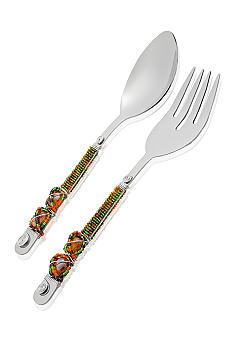 Home Accents Glass Beaded Salad Servers Set