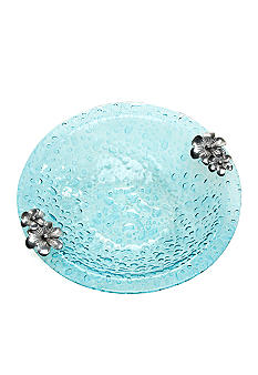 Home Accents Turquoise Bubble Floral Large Bowl