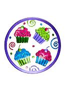 Home Accents® Hand Painted Round Cupcake Platter
