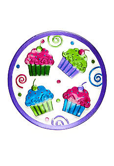 Home Accents Hand Painted Round Cupcake Platter