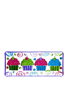 Home Accents Hand Painted Rectangular Cupcake Tray