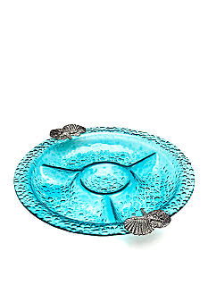 Home Accents Blue Bubble Chip and Dip Server