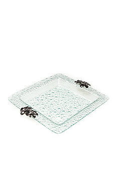 Home Accents 14-in. Clear Bubble Floral Square Plate