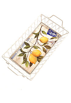 Home Accents Lemon Small Ceramic Serving Tray