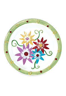 Home Accents Floral Hand Painted Glass Platter