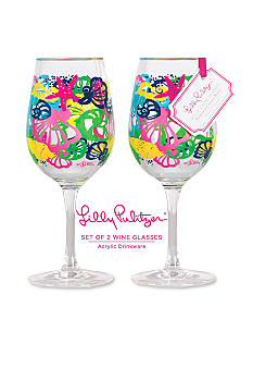 Lilly Pulitzer Acrylic Set of 2 Wine Glass Chiquita Bonita
