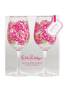 Lilly Pulitzer Acrylic Set of 2 Wine Glass Lucky Charms Green