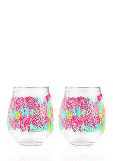 Lilly Pulitzer® Let's Cha Cha Stemless Acrylic Wine Glasses, Set of 2