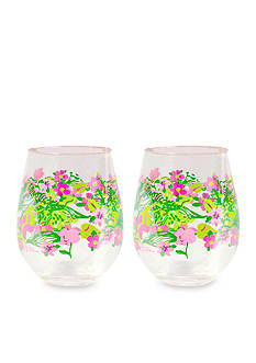Lilly Pulitzer® Tiger Lilly Stemless Acrylic Wine Glasses, Set of 2